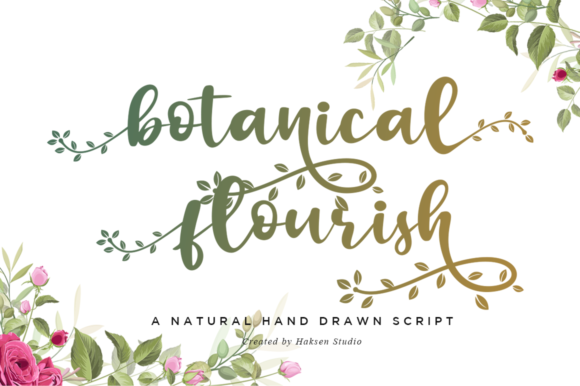 Print on Demand: Botanical Flourish Script & Handwritten Font By Haksen