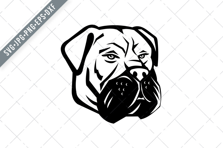 Download Free Bullmastiff Dog Head Mascot Graphic By Patrimonio Creative Fabrica for Cricut Explore, Silhouette and other cutting machines.