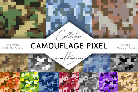 Camouflage Pixel Seamless Patterns Graphic Patterns By digitalEye