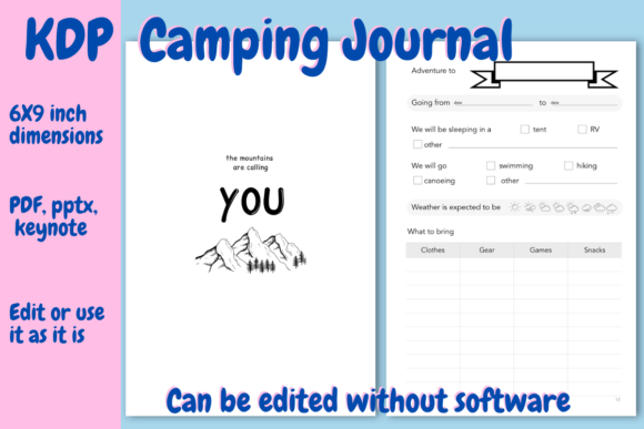 Print on Demand: Camping  Journal for KDP Graphic KDP Interiors By Income Plum - Image 1