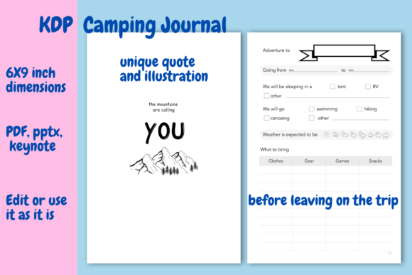 Print on Demand: Camping  Journal for KDP Graphic KDP Interiors By Income Plum - Image 4