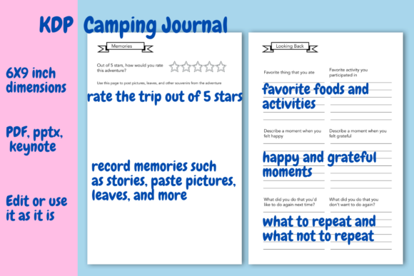 Download Free Camping Journal For Kdp Graphic By Income Plum Creative Fabrica for Cricut Explore, Silhouette and other cutting machines.
