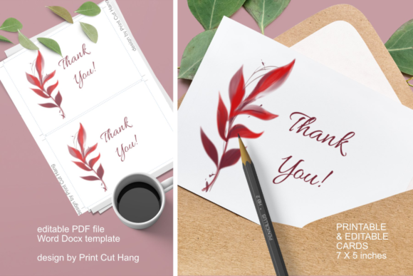 Download Free Cards With Red Fall Foliage Editable Graphic By Print Cut Hang for Cricut Explore, Silhouette and other cutting machines.