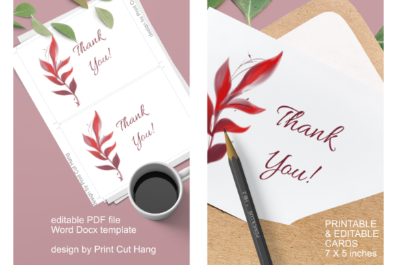 Cards With Red Fall Foliage Editable Graphic By Print Cut Hang