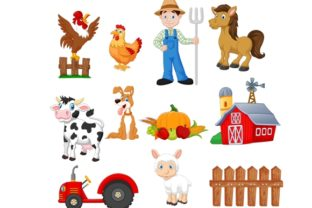 Download Free Cartoon Farming Clipart Set Graphic Graphic By Tigatelusiji for Cricut Explore, Silhouette and other cutting machines.