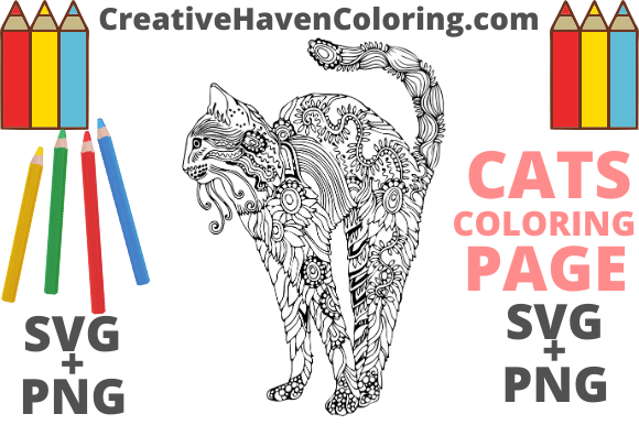Download Free Cat Coloring Page 12 Graphic By Creativehavencoloring Creative Fabrica for Cricut Explore, Silhouette and other cutting machines.