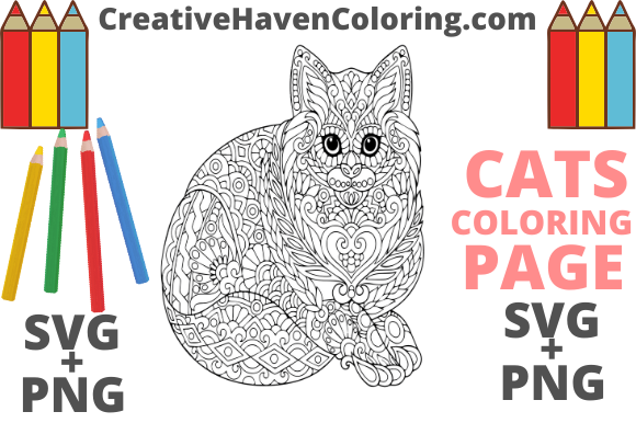 Download Free Cat Coloring Page 14 Graphic By Creativehavencoloring for Cricut Explore, Silhouette and other cutting machines.