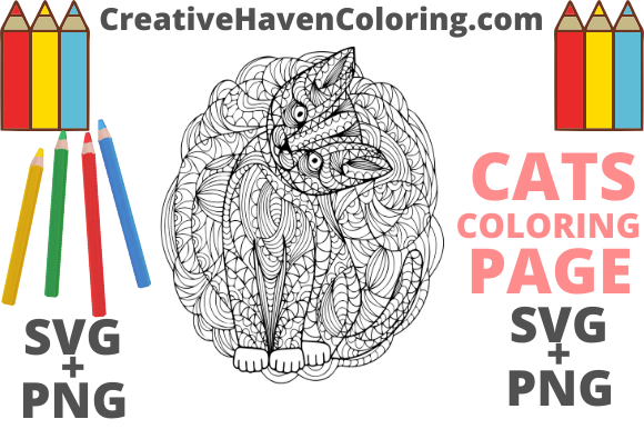 Print on Demand: Cat Coloring Page #17  Graphic Coloring Pages & Books Adults By creativehavencoloring