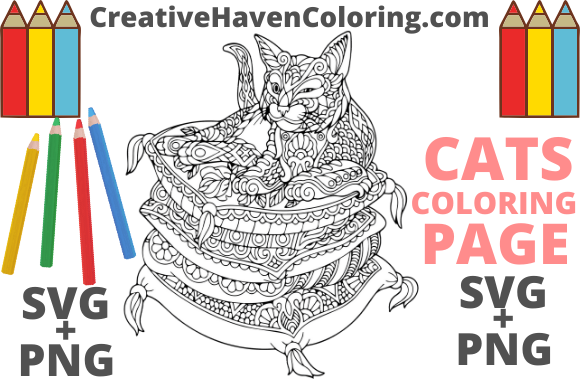Download Free Cat Coloring Page 16 Graphic By Creativehavencoloring for Cricut Explore, Silhouette and other cutting machines.