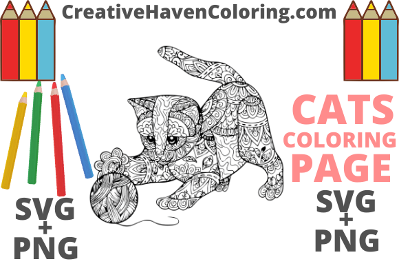 Print on Demand: Cat Coloring Page #3   Graphic Coloring Pages & Books Adults By creativehavencoloring