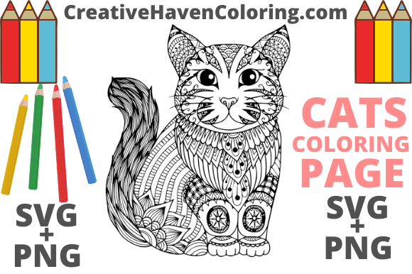 Download Free Cat Coloring Page 9 Graphic By Creativehavencoloring Creative for Cricut Explore, Silhouette and other cutting machines.