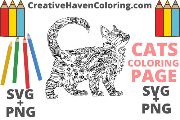 Download Free Cat Coloring Page 5 Graphic By Creativehavencoloring Creative for Cricut Explore, Silhouette and other cutting machines.