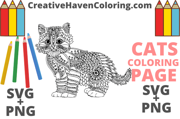 Print on Demand: Cat Coloring Page #6  Graphic Coloring Pages & Books Adults By creativehavencoloring