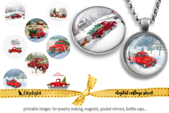 Print on Demand: Christmas Red Truck Printable Images Graphic Crafts By CatgoDigital