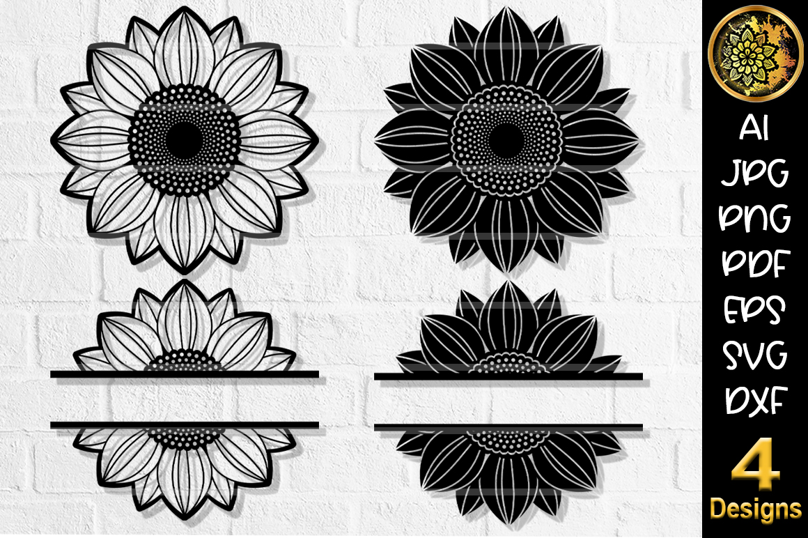 Download Free Circle Monogram Cut File Set 5 Sunflower Graphic By V Design for Cricut Explore, Silhouette and other cutting machines.