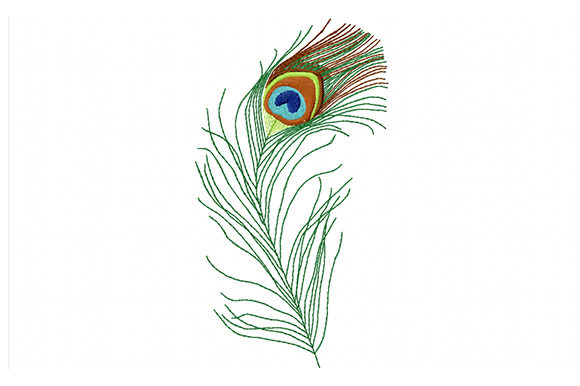 Print on Demand: Colorful Peacock Feather Boho Embroidery Design By EmbArt