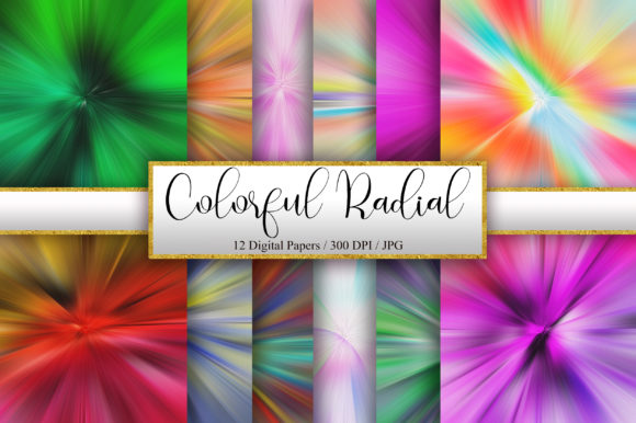 Colorful Radial Background Digital Paper Graphic Backgrounds By PinkPearly