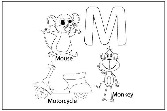 Print on Demand: Coloring the Letter M for Children Graphic Illustrations By curutdesign