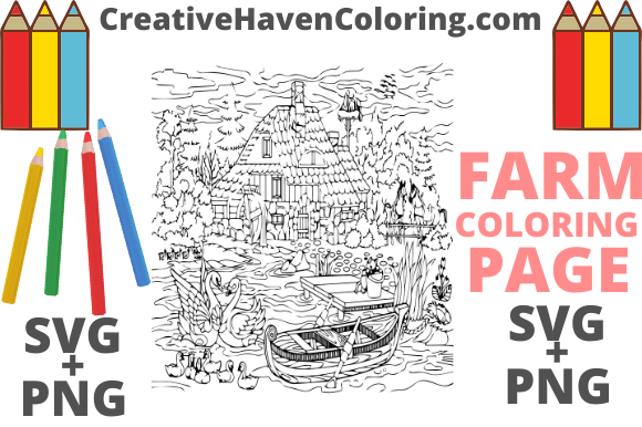 Print on Demand: Country Farm Coloring Page #1  Graphic Coloring Pages & Books Adults By creativehavencoloring
