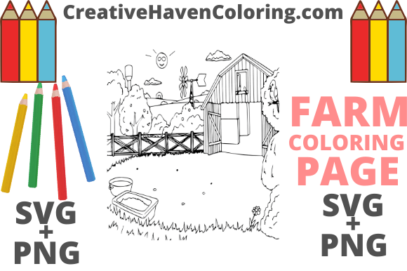 Print on Demand: Country Farm Coloring Page #14  Graphic Coloring Pages & Books Adults By creativehavencoloring