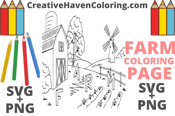 Print on Demand: Country Farm Coloring Page #15  Graphic Coloring Pages & Books Adults By creativehavencoloring