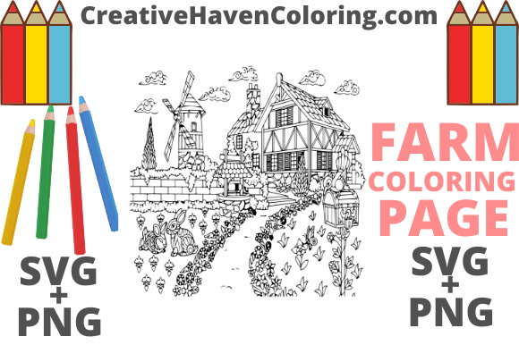 Print on Demand: Country Farm Coloring Page #2   Graphic Coloring Pages & Books Adults By creativehavencoloring