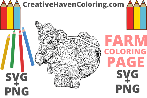 Print on Demand: Country Farm Coloring Page #4 Graphic Coloring Pages & Books Adults By creativehavencoloring
