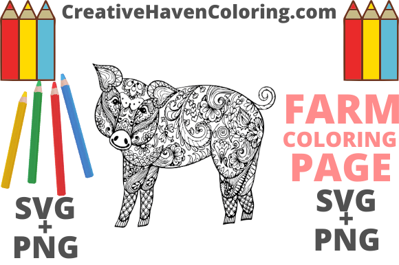 Print on Demand: Country Farm Coloring Page #6  Graphic Coloring Pages & Books Adults By creativehavencoloring