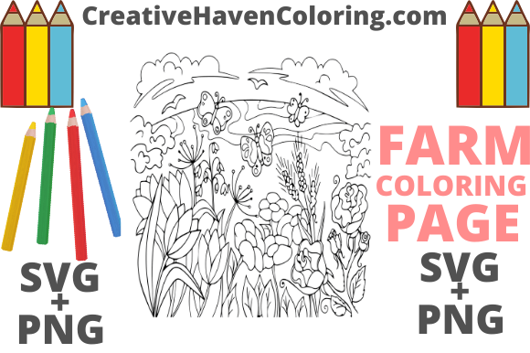 Print on Demand: Country Farm Coloring Page #8  Graphic Coloring Pages & Books Adults By creativehavencoloring