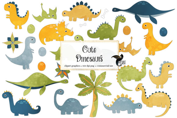 Print on Demand: Cute Dinosaur Clipart Graphic Illustrations By Digital Curio - Image 1