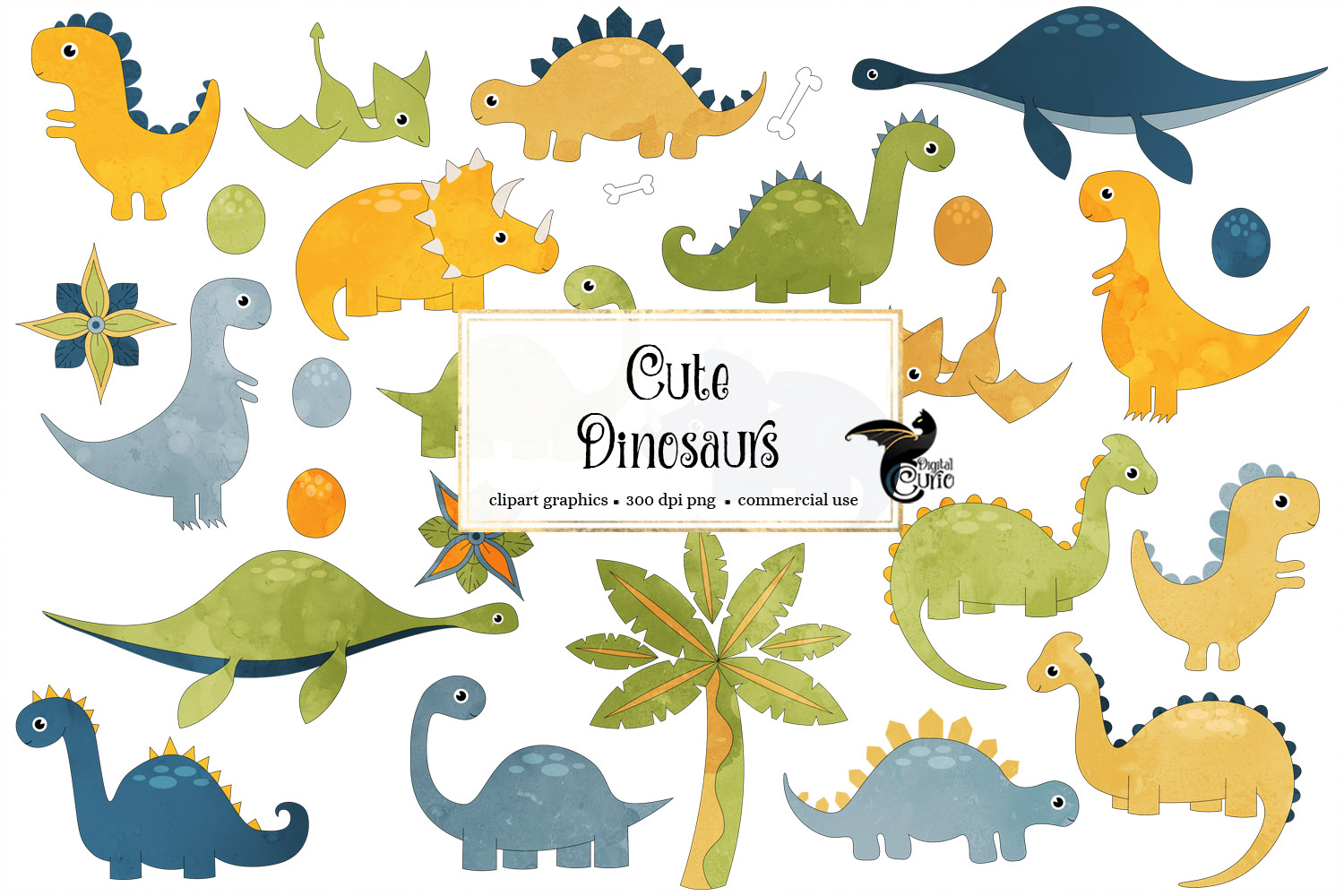 Download Free Cute Dinosaur Clipart Graphic By Digital Curio Creative Fabrica for Cricut Explore, Silhouette and other cutting machines.