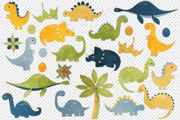 Print on Demand: Cute Dinosaur Clipart Graphic Illustrations By Digital Curio - Image 2