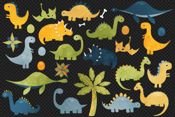 Print on Demand: Cute Dinosaur Clipart Graphic Illustrations By Digital Curio - Image 3