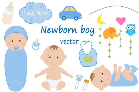 Download Free Cute Newborn Kids Boy Vector Drawing Graphic By Shishkovaiv for Cricut Explore, Silhouette and other cutting machines.