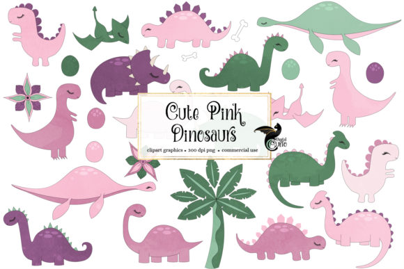 Download Free Cute Pink Dinosaurs Clipart Graphic By Digital Curio Creative for Cricut Explore, Silhouette and other cutting machines.