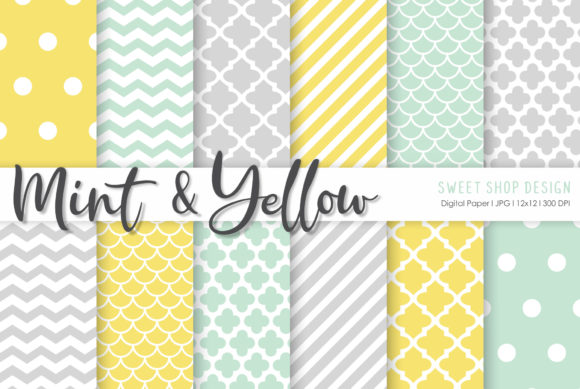 Digital Paper Mint and Yellow Graphic Patterns By Sweet Shop Design