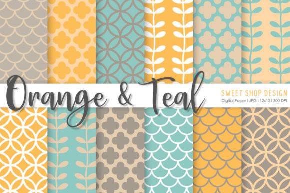 Download Free Digital Paper Orange Teal Graphic By Sweet Shop Design Creative Fabrica for Cricut Explore, Silhouette and other cutting machines.