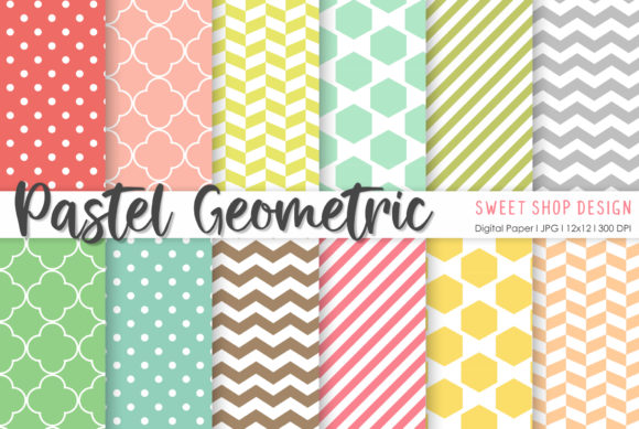 Digital Paper Paster Geometric Graphic Patterns By Sweet Shop Design