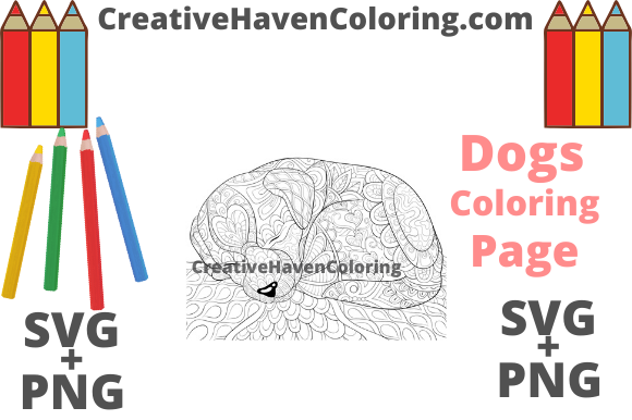 Print on Demand: Dog Coloring Page #14  Graphic Coloring Pages & Books Adults By creativehavencoloring