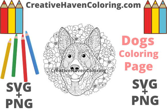 Print on Demand: Dog Coloring Page #2  Graphic Coloring Pages & Books Adults By creativehavencoloring