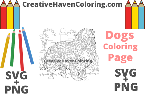 Print on Demand: Dog Coloring Page #3  Graphic Coloring Pages & Books Adults By creativehavencoloring
