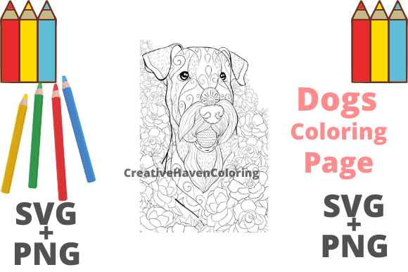 Print on Demand: Dog Coloring Page #6  Graphic Coloring Pages & Books Adults By creativehavencoloring