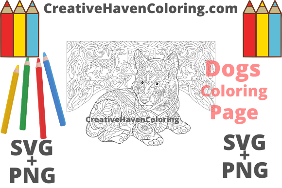 Print on Demand: Dog Coloring Page #9 Graphic Coloring Pages & Books Adults By creativehavencoloring
