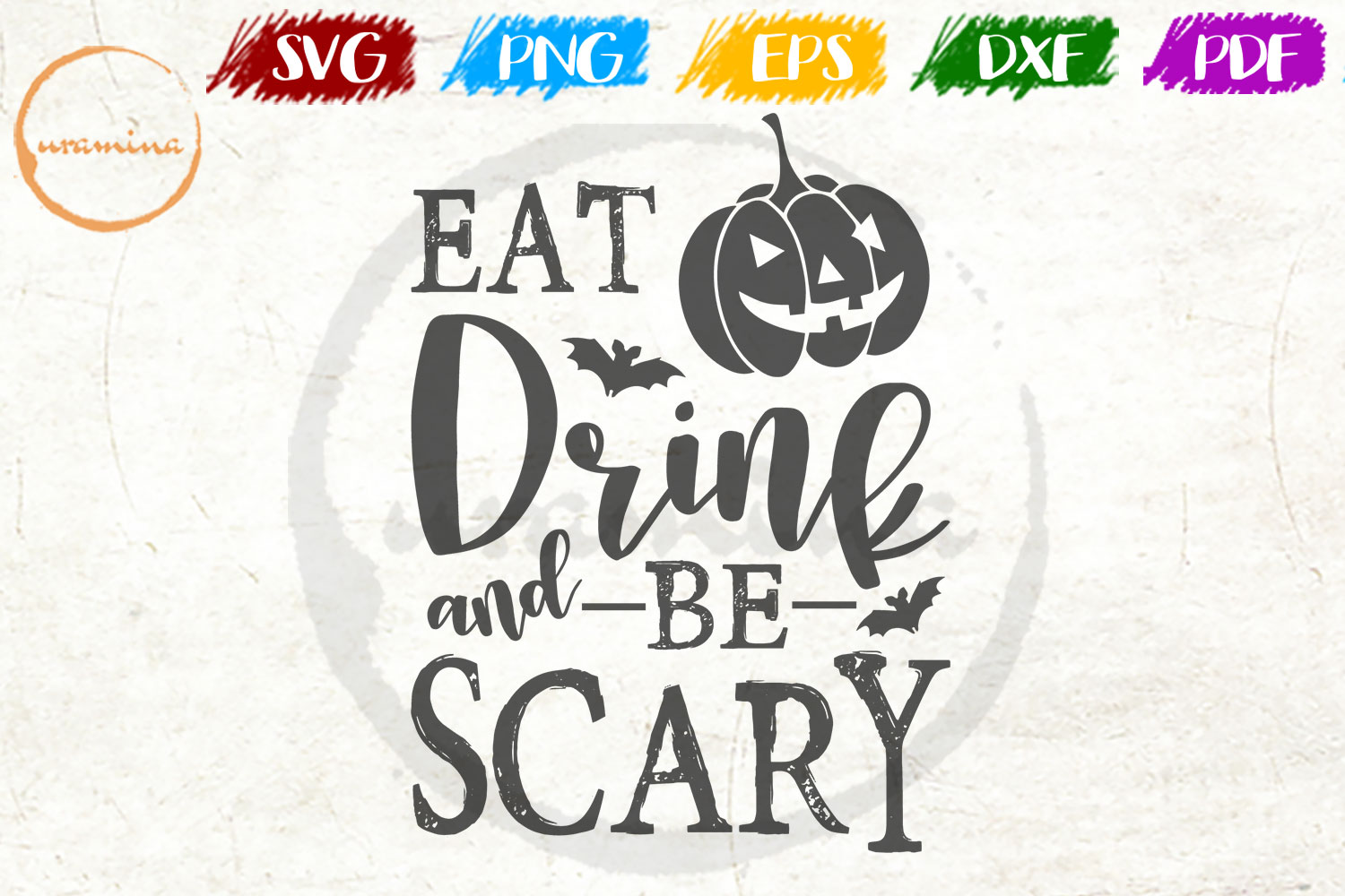 Download Free Eat Drink And Be Scary Graphic By Uramina Creative Fabrica for Cricut Explore, Silhouette and other cutting machines.