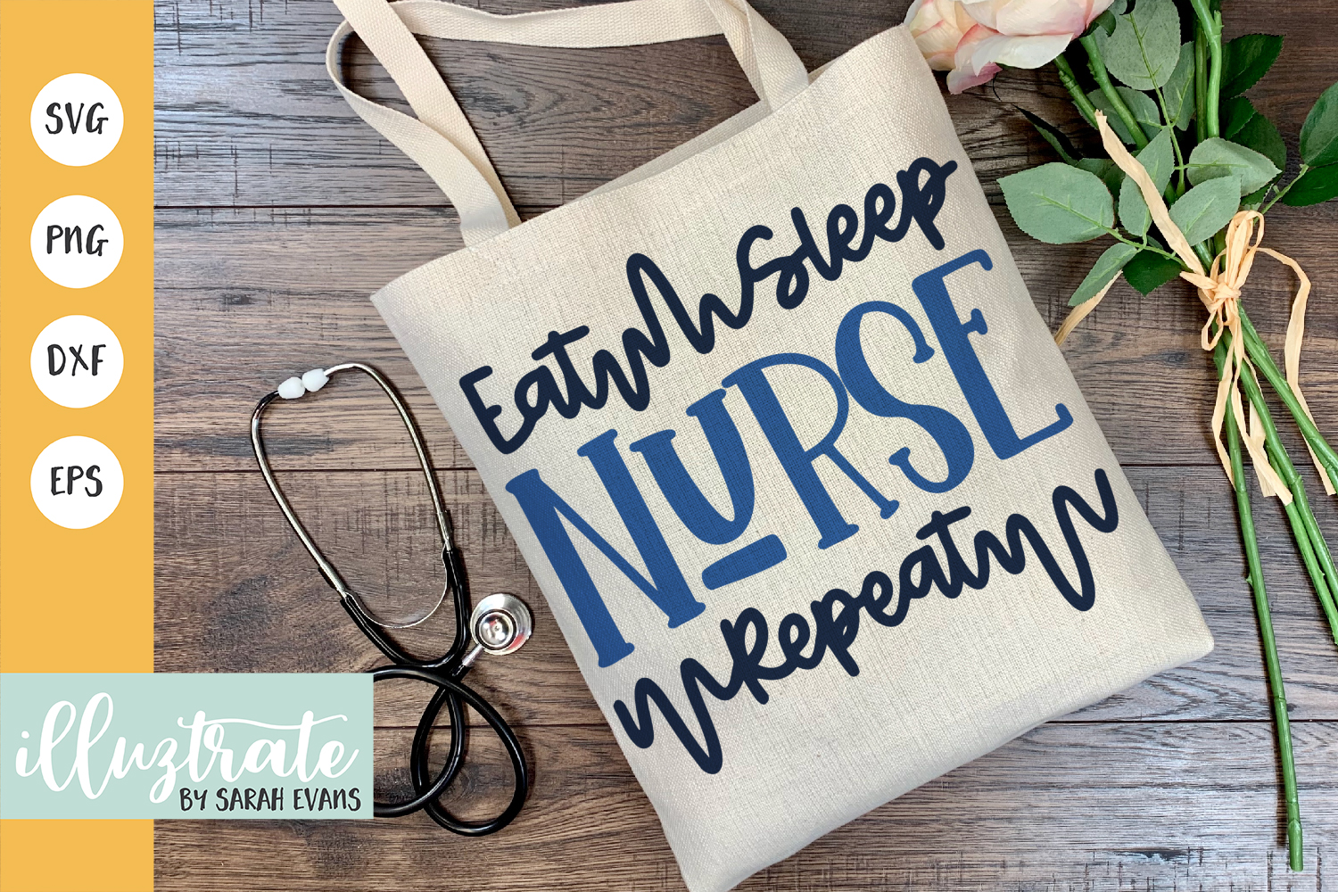 Download Free Eat Sleep Nurse Repeat Graphic By Illuztrate Creative Fabrica for Cricut Explore, Silhouette and other cutting machines.