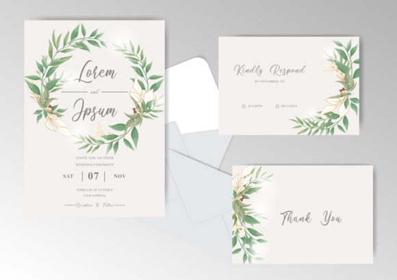 Download Free Elegant Greenery Wedding Cards Set Graphic By Federiqoend for Cricut Explore, Silhouette and other cutting machines.