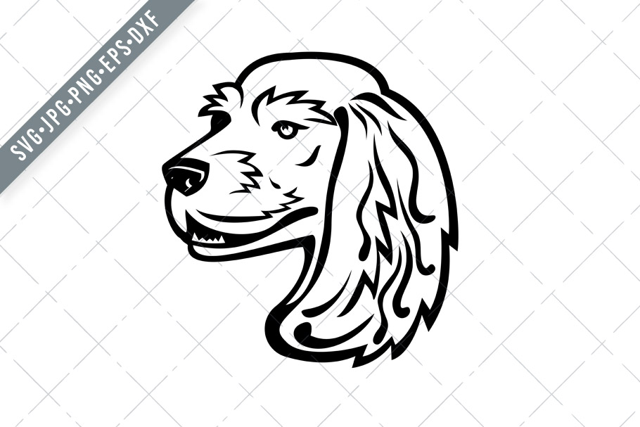 Download Free English Cocker Spaniel Head Mascot Graphic By Patrimonio for Cricut Explore, Silhouette and other cutting machines.