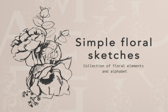 Floral Alphabet Design Graphic Objects By Vera Vero