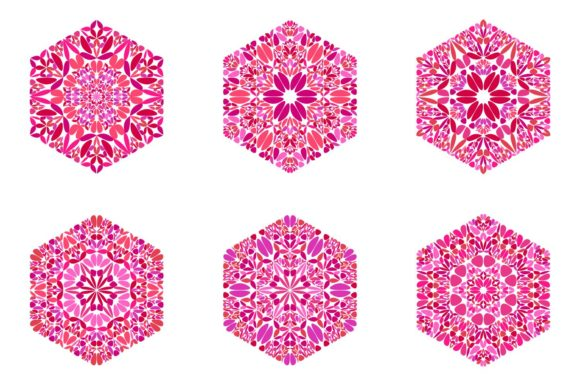 Floral Hexagon Symbol Template Set Graphic Illustrations By davidzydd