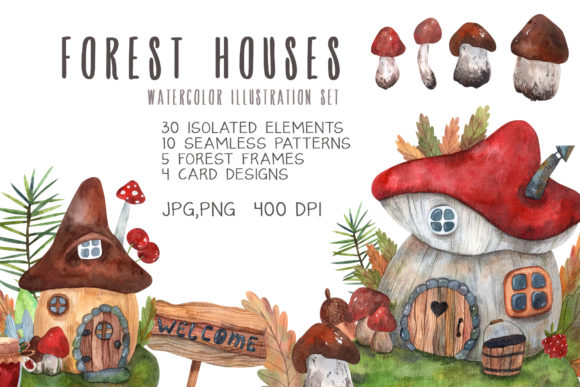 Print on Demand: Forest Houses Watercolor Set Graphic Illustrations By VashaRisovasha